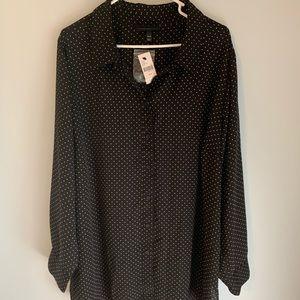 NWT Lane Bryant size 26/28 polka dot shirt blk/why